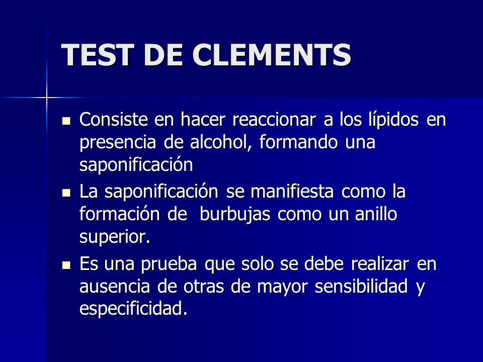 TEST DE CLEMENTSConsiste en hacer reaccionar a los lípidos en presencia de alcohol, formando una saponificación.
