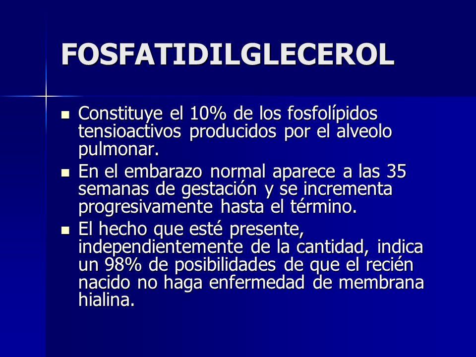 FOSFATIDILGLECEROLConstituye el 10% de los fosfolípidos tensioactivos producidos por el alveolo pulmonar.