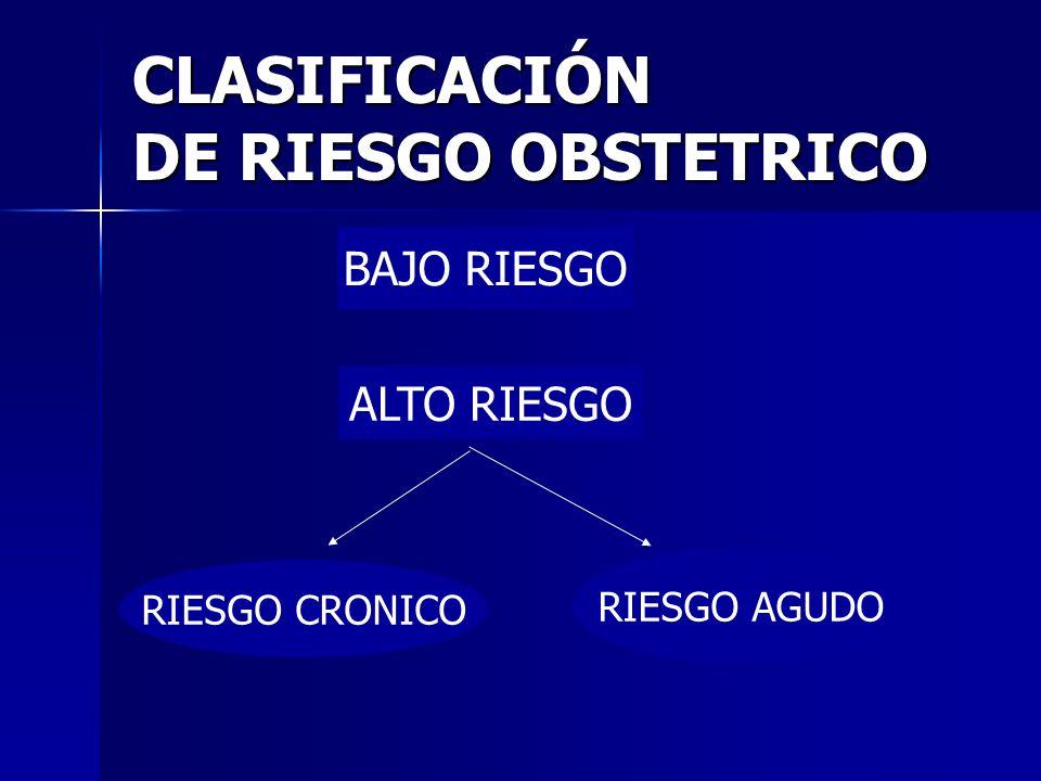 CLASIFICACIÓN DE RIESGO OBSTETRICO