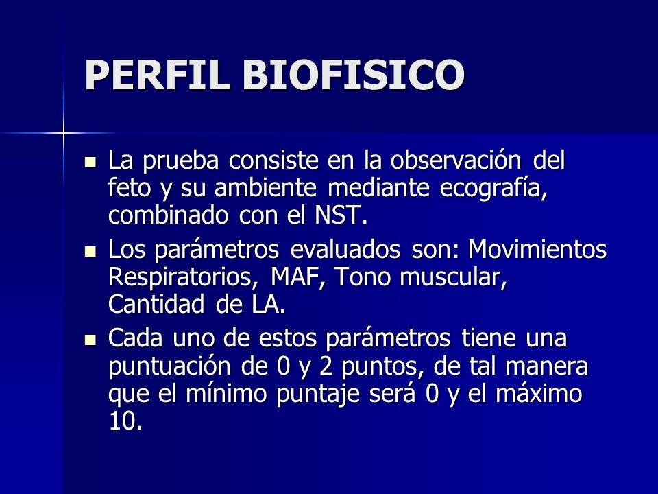 PERFIL BIOFISICO La prueba consiste en la observación del feto y su ambiente mediante ecografía, combinado con el NST.