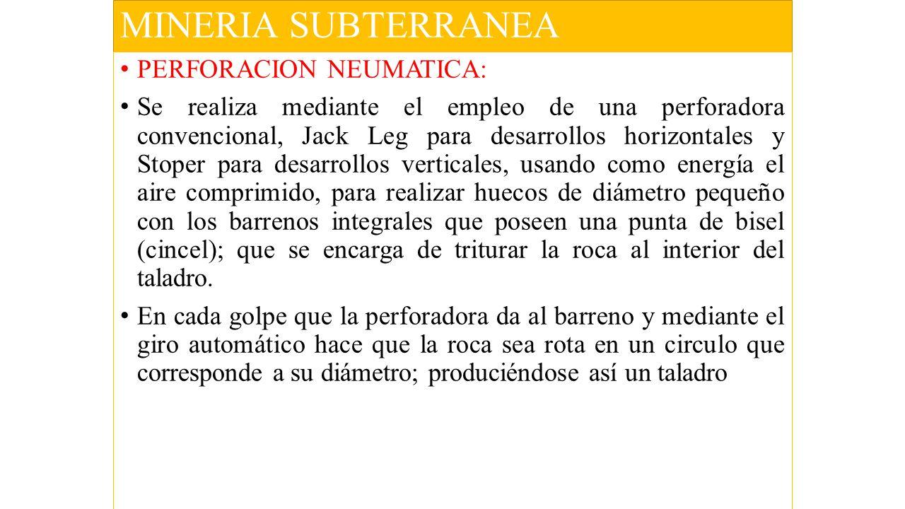 MINERIA SUBTERRANEA PERFORACION NEUMATICA:
