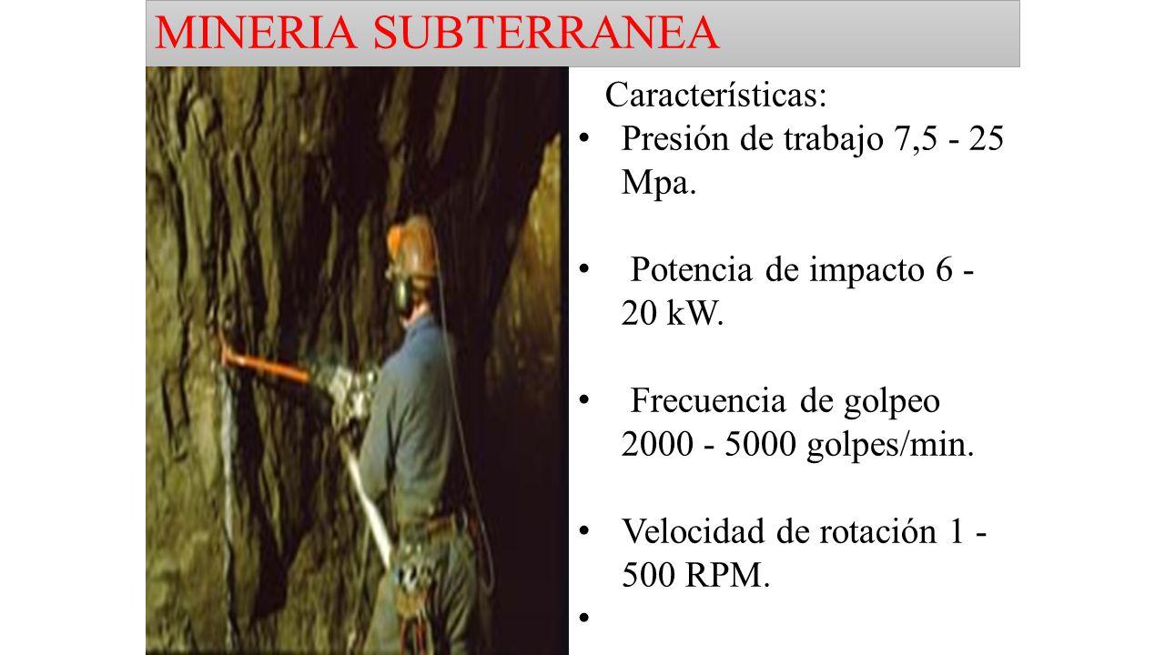 MINERIA SUBTERRANEA Características: Presión de trabajo 7,5 - 25 Mpa.