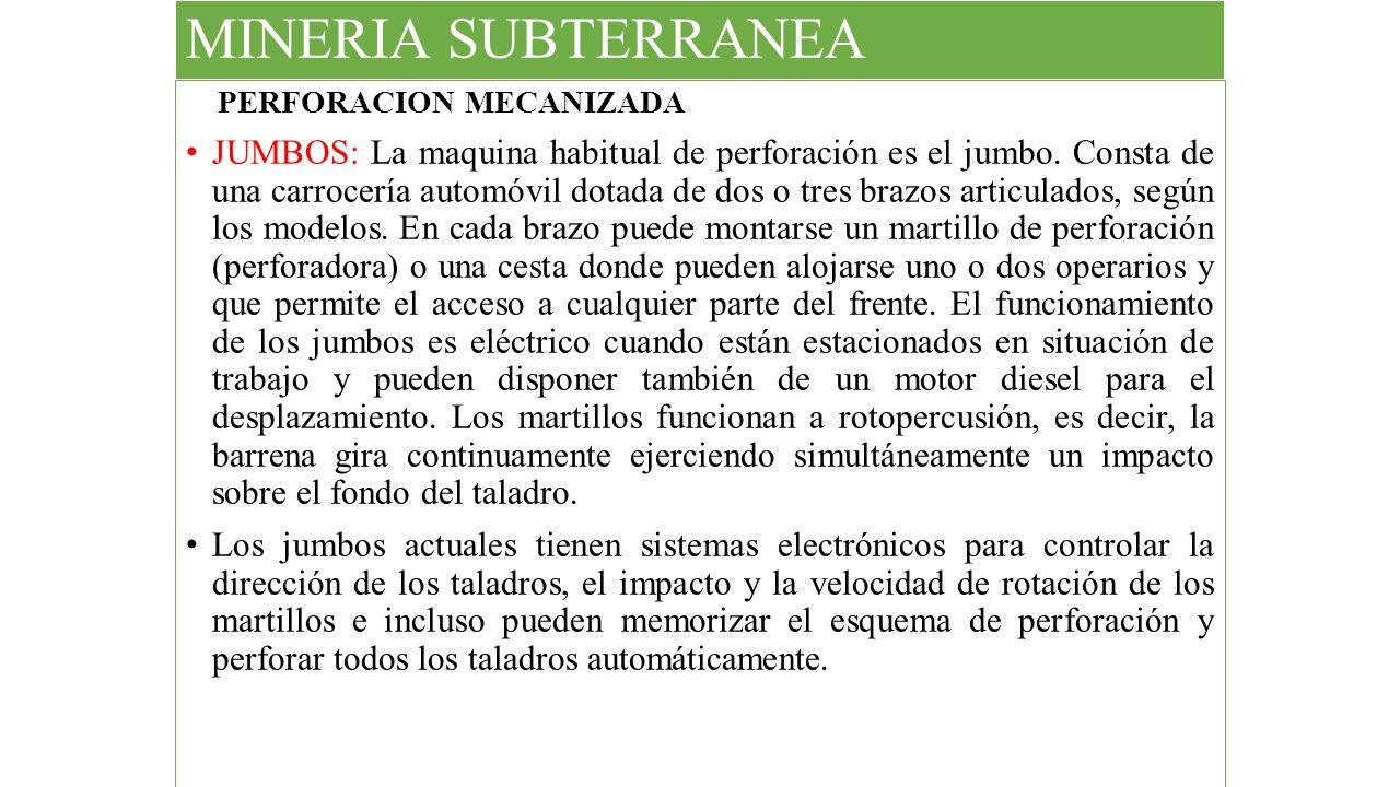 MINERIA SUBTERRANEA PERFORACION MECANIZADA.