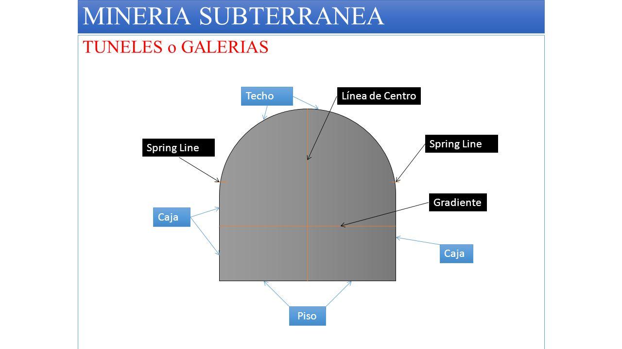 MINERIA SUBTERRANEA TUNELES o GALERIAS Techo Línea de Centro
