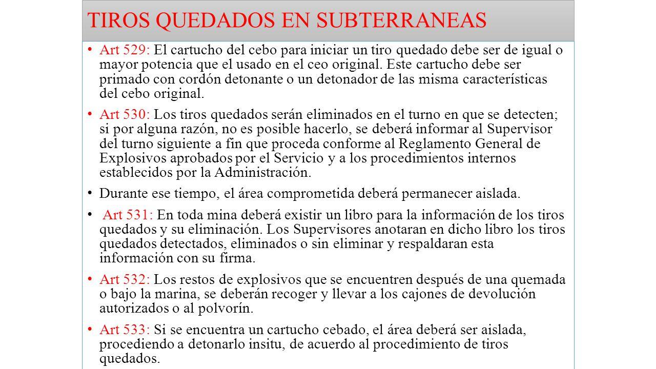 TIROS QUEDADOS EN SUBTERRANEAS