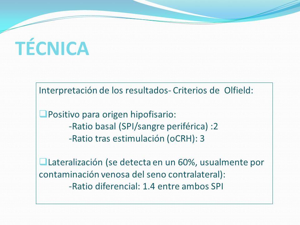 TÉCNICA Interpretación de los resultados- Criterios de Olfield: