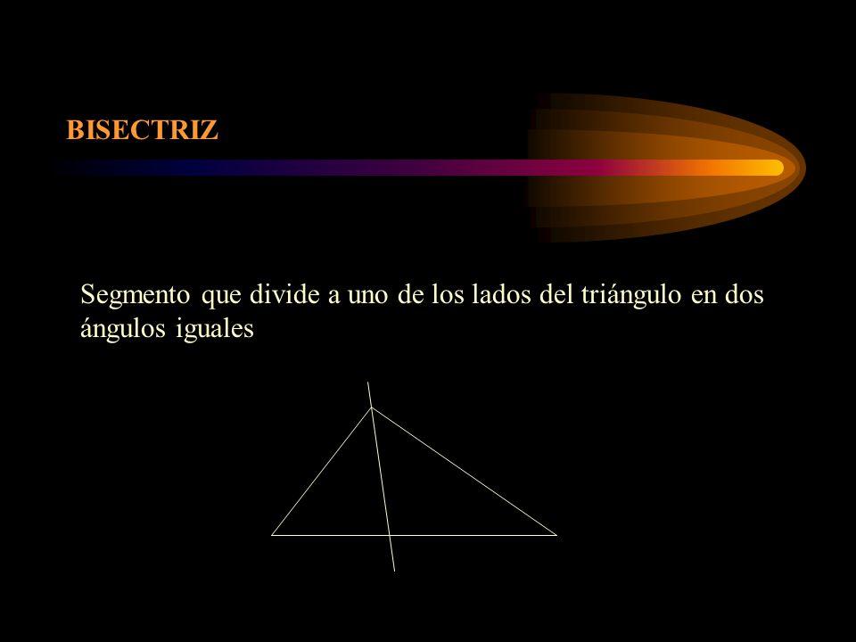 BISECTRIZ Segmento que divide a uno de los lados del triángulo en dos ángulos iguales