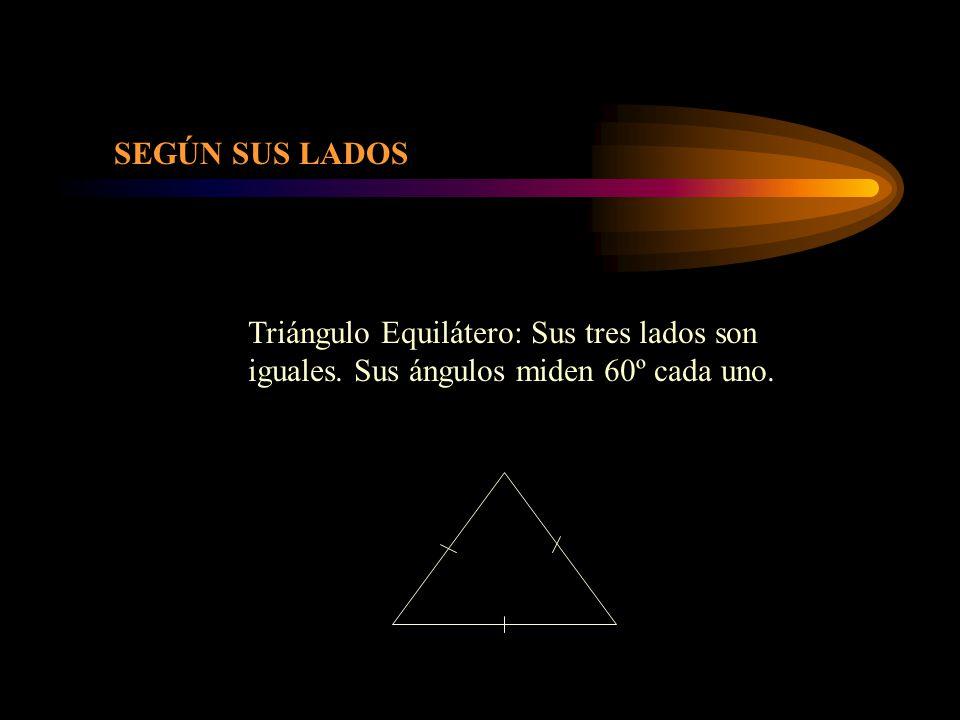SEGÚN SUS LADOS Triángulo Equilátero: Sus tres lados son iguales. Sus ángulos miden 60º cada uno.