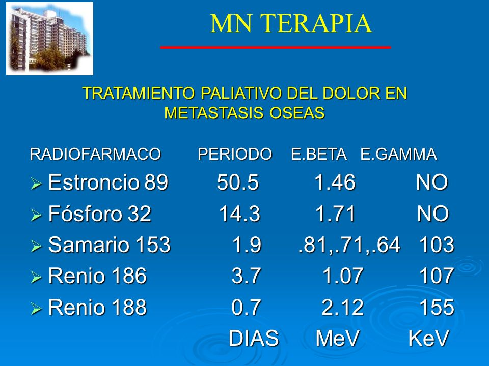 TRATAMIENTO PALIATIVO DEL DOLOR EN METASTASIS OSEAS