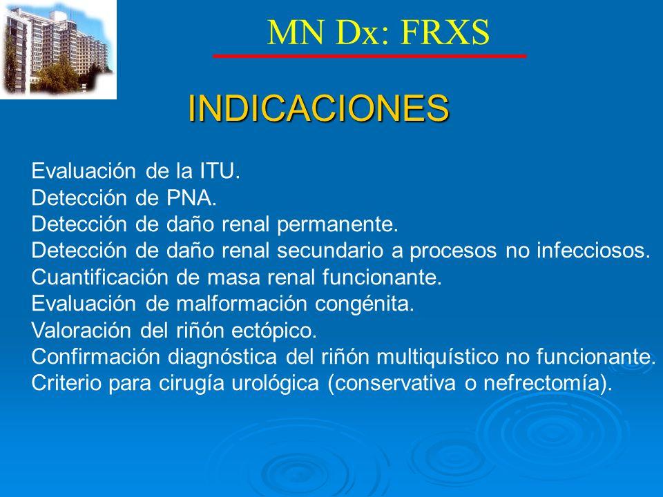 MN Dx: FRXS INDICACIONES Evaluación de la ITU. Detección de PNA.