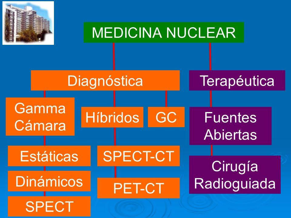 MEDICINA NUCLEAR Diagnóstica. Terapéutica. Gamma. Cámara. Híbridos. GC. Fuentes. Abiertas. Estáticas.