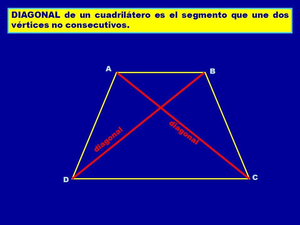 DIAGONAL de un cuadrilátero es el segmento que une dos vértices no consecutivos.
