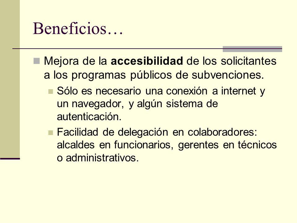 Beneficios… Mejora de la accesibilidad de los solicitantes a los programas públicos de subvenciones.