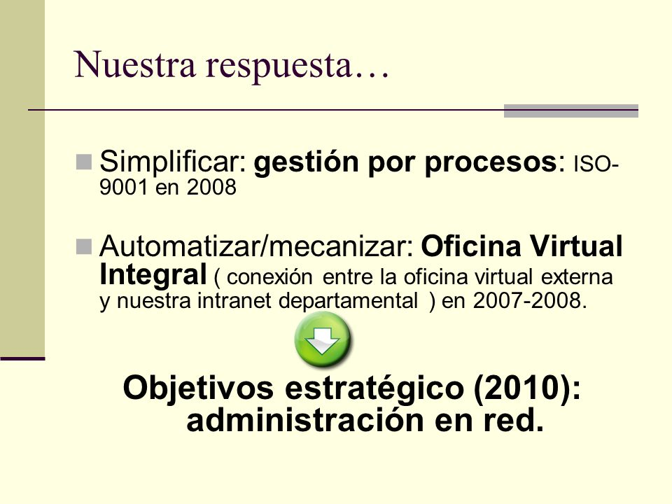 Objetivos estratégico (2010): administración en red.
