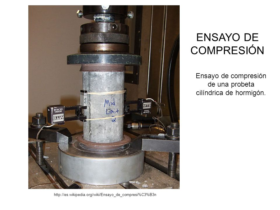 Ensayo de compresión de una probeta cilíndrica de hormigón.