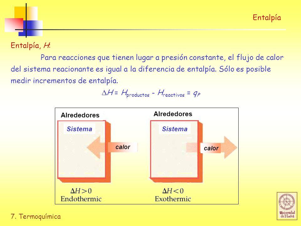 H = Hproductos - Hreactivos = qP