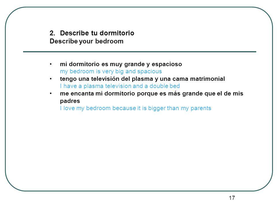 2. Describe tu dormitorio