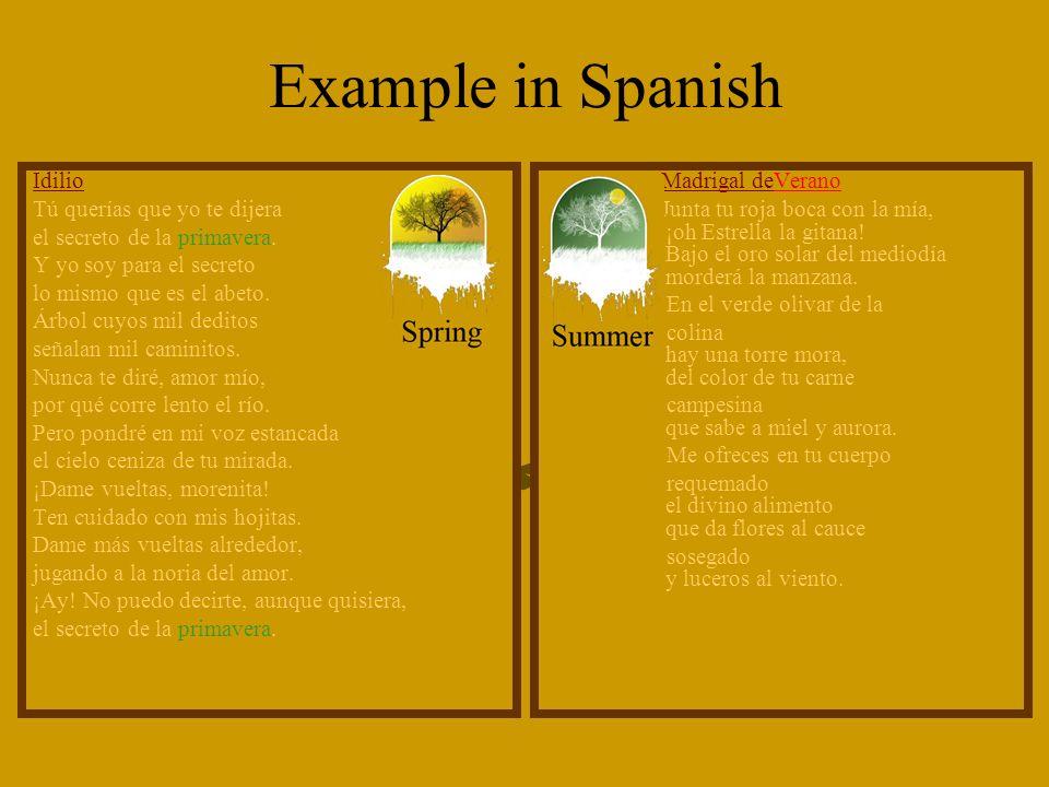 Example in Spanish Idilio Tú querías que yo te dijera