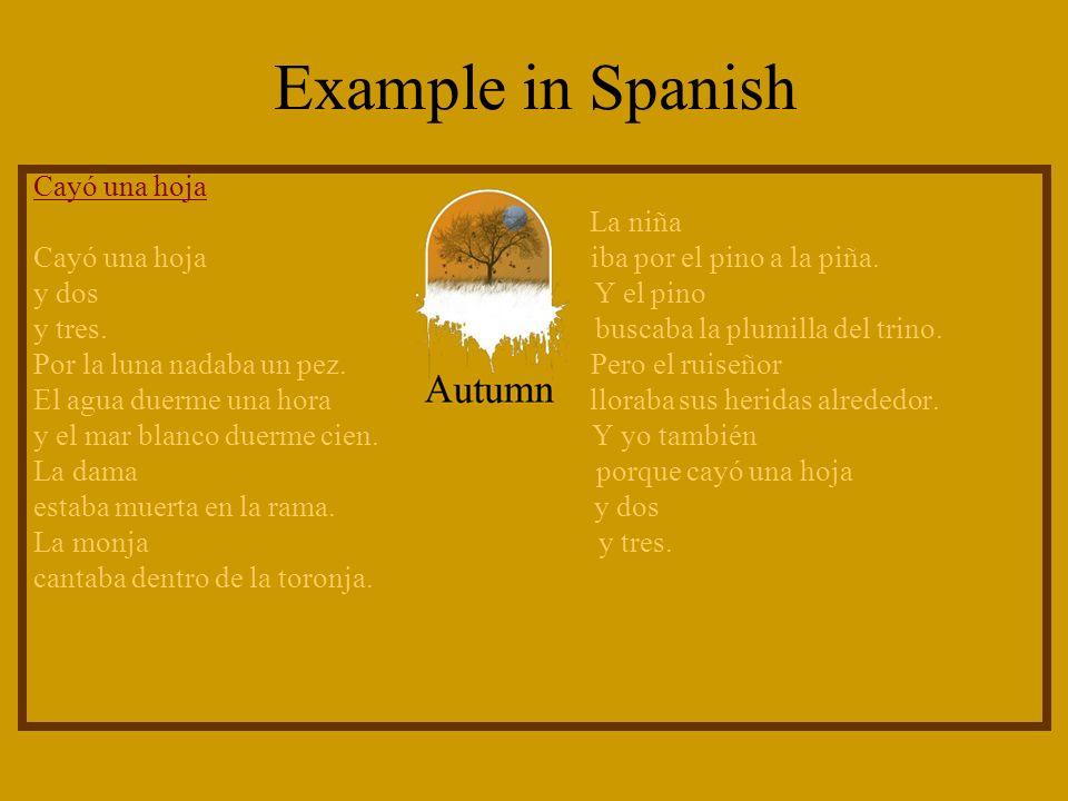 Example in Spanish Cayó una hoja La niña