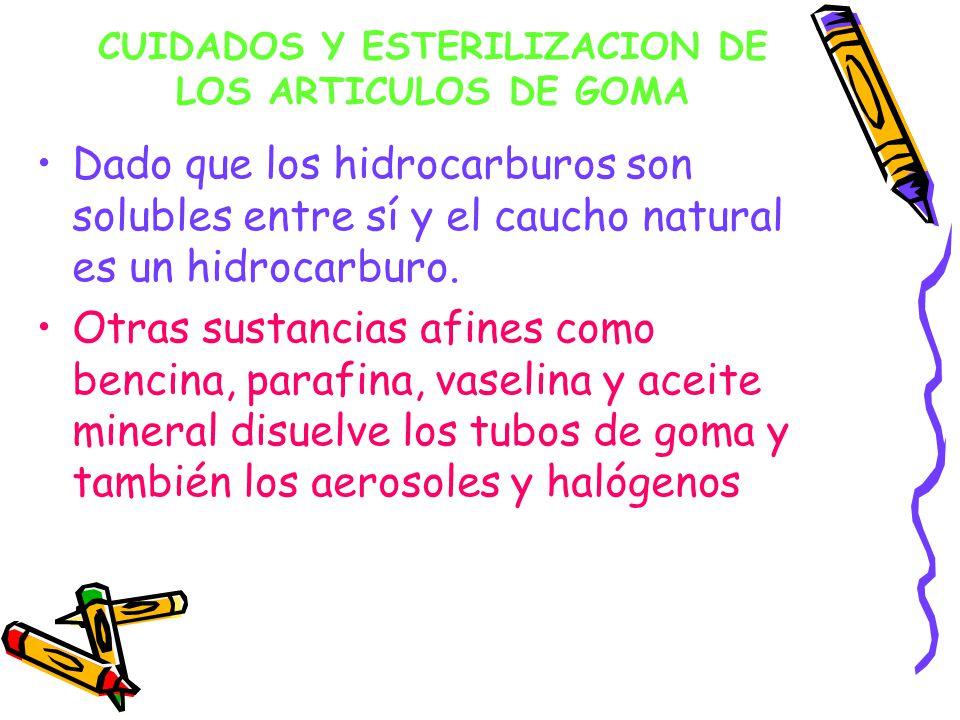 CUIDADOS Y ESTERILIZACION DE LOS ARTICULOS DE GOMA