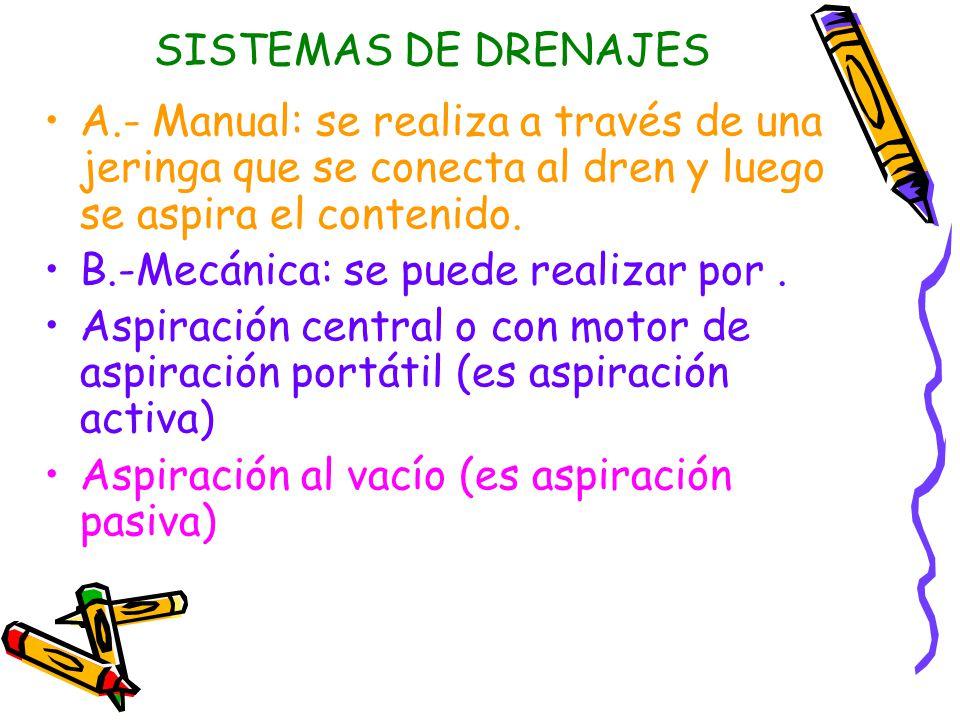 SISTEMAS DE DRENAJES A.- Manual: se realiza a través de una jeringa que se conecta al dren y luego se aspira el contenido.