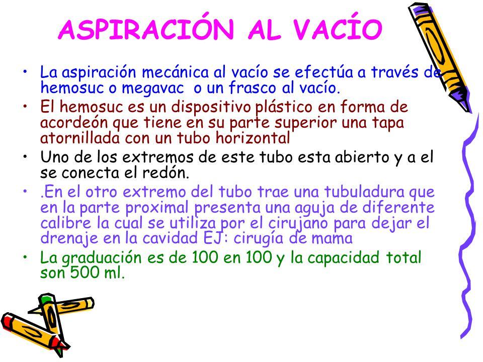 ASPIRACIÓN AL VACÍO La aspiración mecánica al vacío se efectúa a través de hemosuc o megavac o un frasco al vacío.
