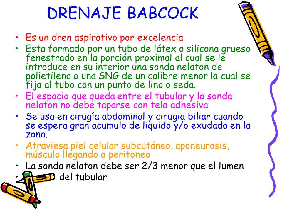 DRENAJE BABCOCK Es un dren aspirativo por excelencia