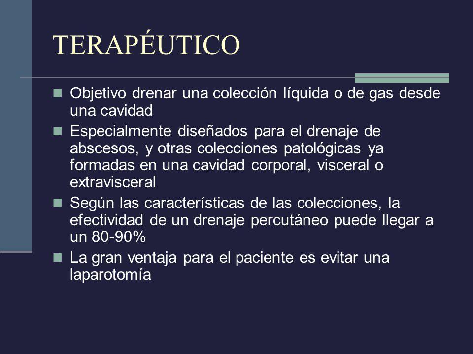 TERAPÉUTICO Objetivo drenar una colección líquida o de gas desde una cavidad.