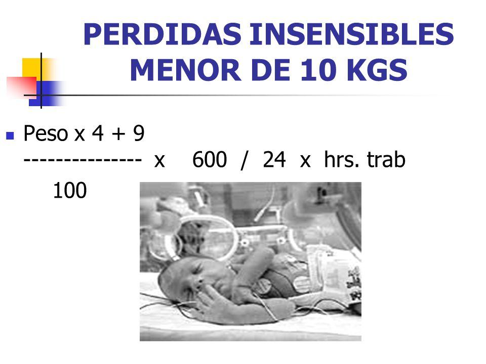 PERDIDAS INSENSIBLES MENOR DE 10 KGS