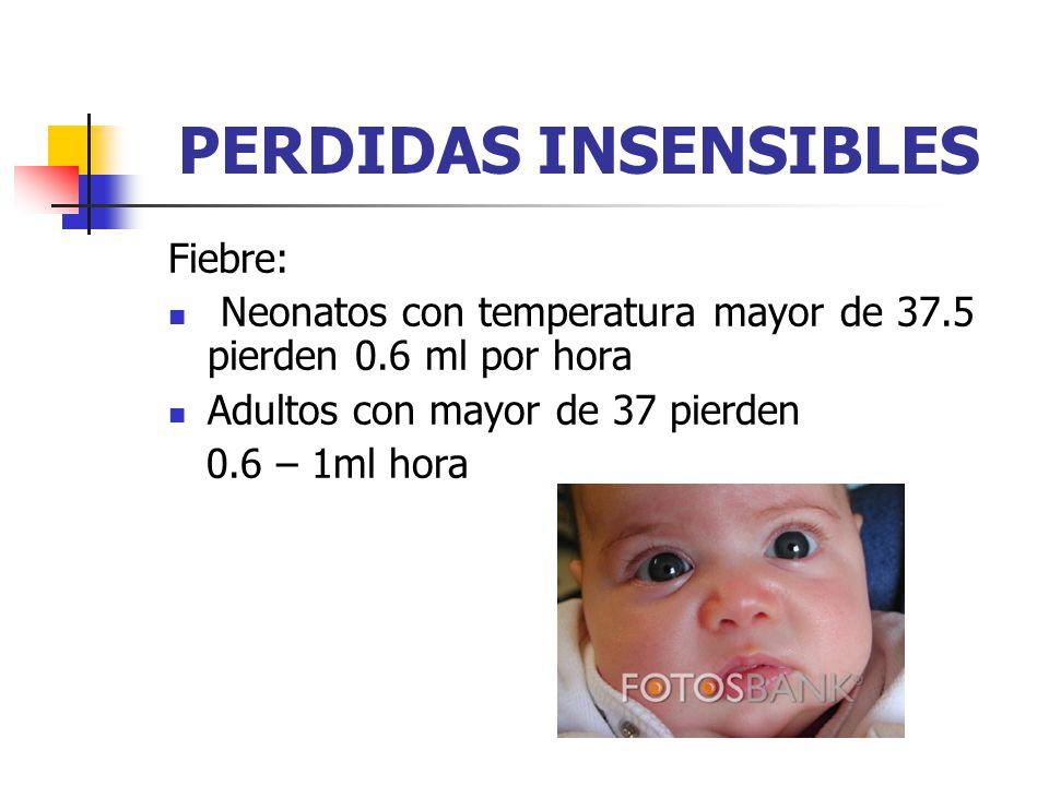 PERDIDAS INSENSIBLES Fiebre: