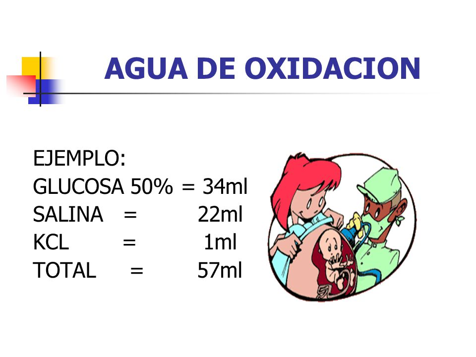 AGUA DE OXIDACION EJEMPLO: GLUCOSA 50% = 34ml SALINA = 22ml KCL = 1ml