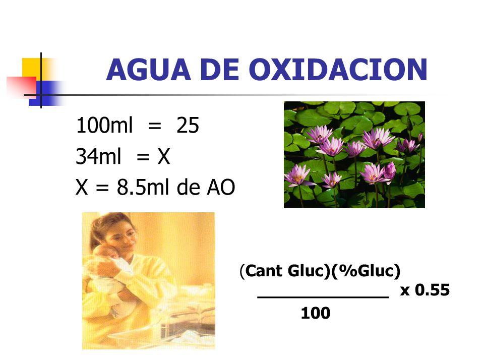 AGUA DE OXIDACION 100ml = 25 34ml = X X = 8.5ml de AO