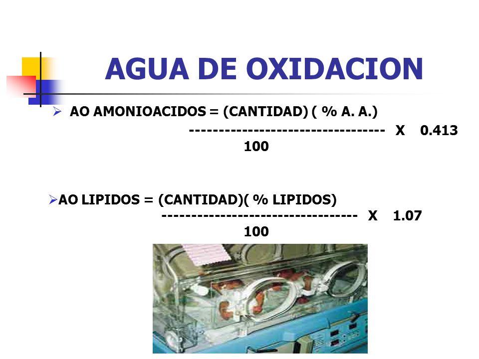 AGUA DE OXIDACION AO AMONIOACIDOS = (CANTIDAD) ( % A. A.)
