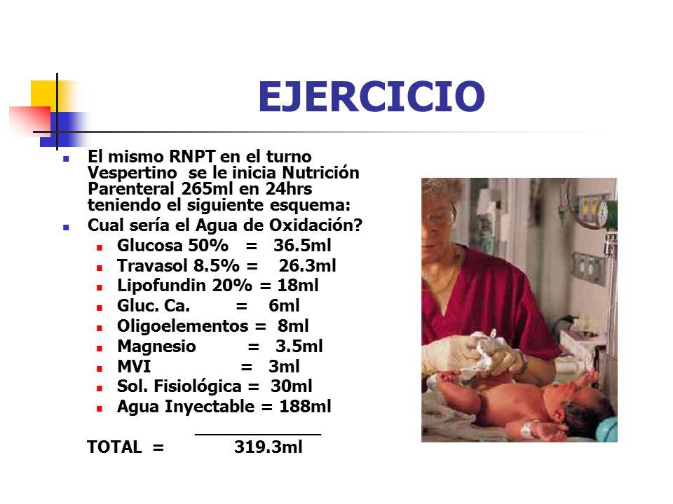 EJERCICIO El mismo RNPT en el turno Vespertino se le inicia Nutrición Parenteral 265ml en 24hrs teniendo el siguiente esquema: