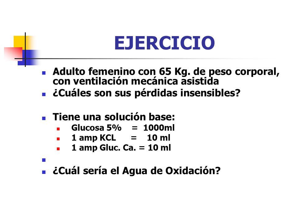 EJERCICIO Adulto femenino con 65 Kg. de peso corporal, con ventilación mecánica asistida. ¿Cuáles son sus pérdidas insensibles