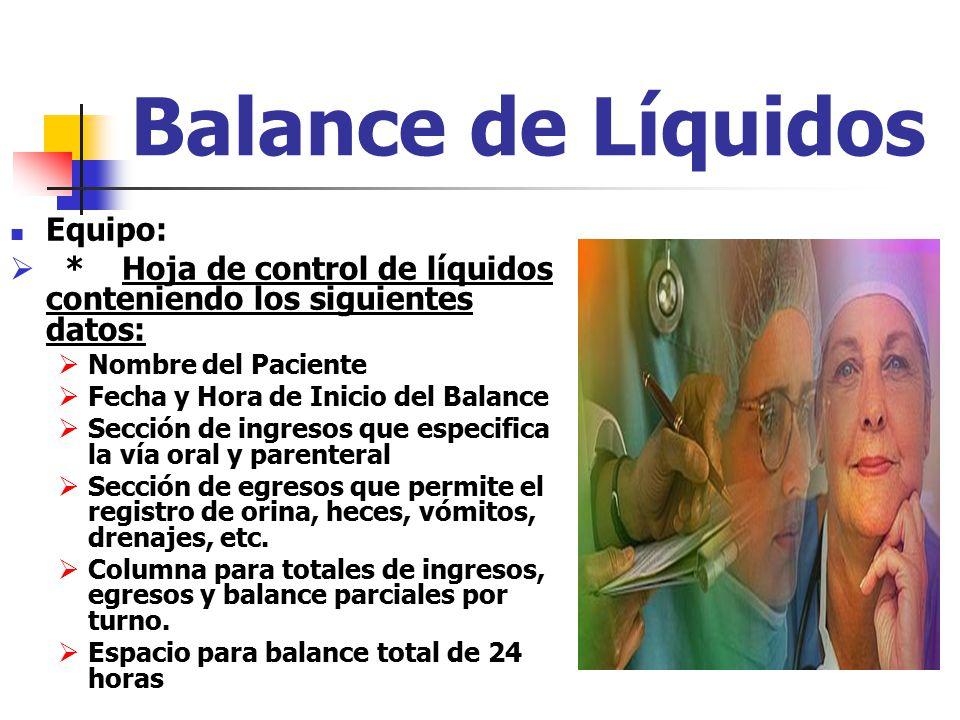 Balance de Líquidos Equipo: