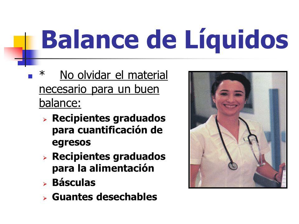 Balance de Líquidos * No olvidar el material necesario para un buen balance: Recipientes graduados para cuantificación de egresos.