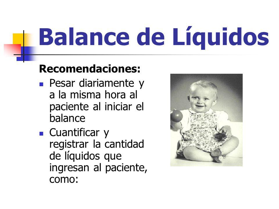 Balance de Líquidos Recomendaciones: