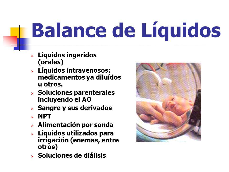 Balance de Líquidos Líquidos ingeridos (orales)
