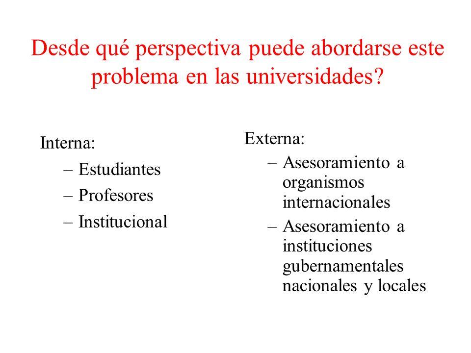 Desde qué perspectiva puede abordarse este problema en las universidades