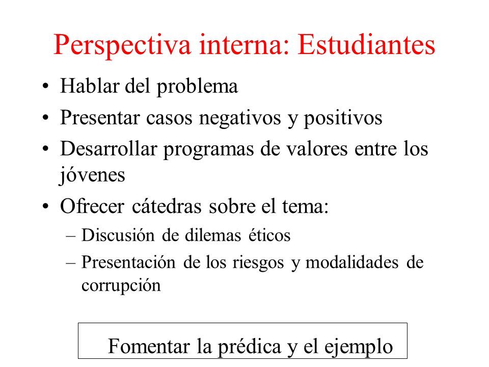 Perspectiva interna: Estudiantes