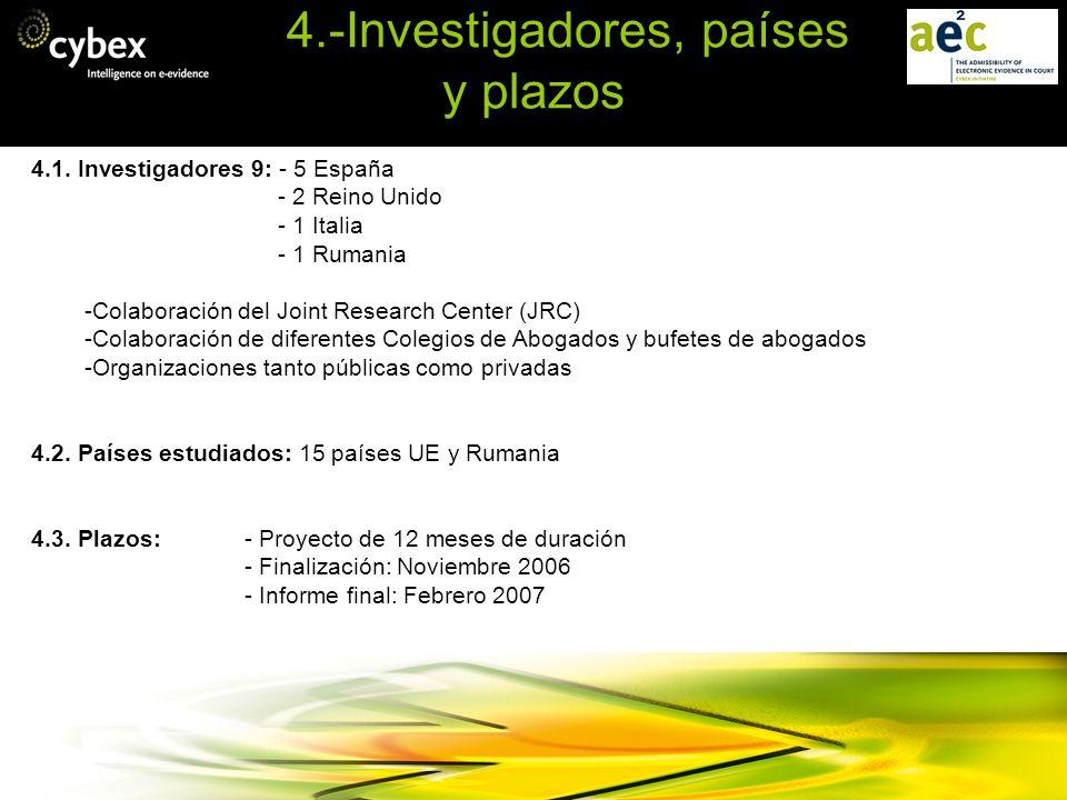 4.-Investigadores, países y plazos