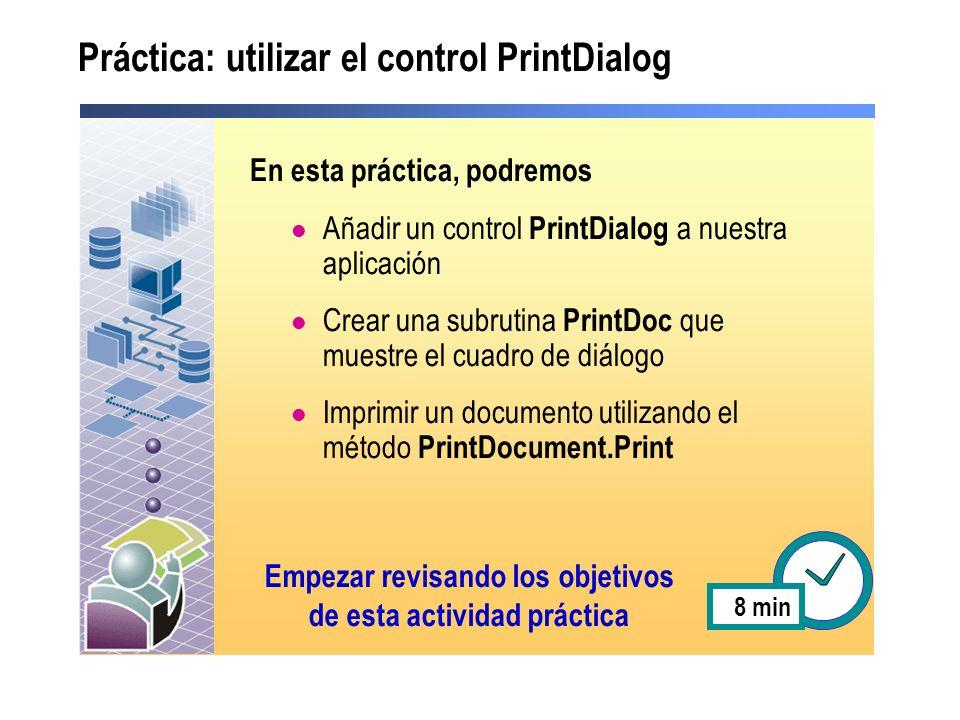 Práctica: utilizar el control PrintDialog
