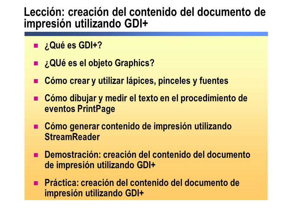 Lección: creación del contenido del documento de impresión utilizando GDI+