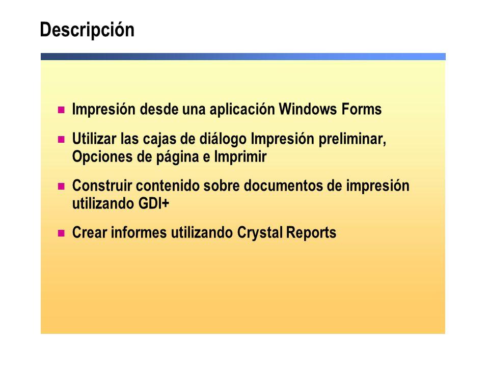 Descripción Impresión desde una aplicación Windows Forms
