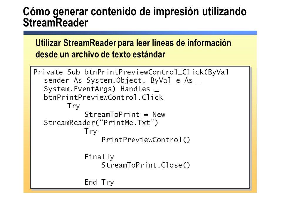 Cómo generar contenido de impresión utilizando StreamReader
