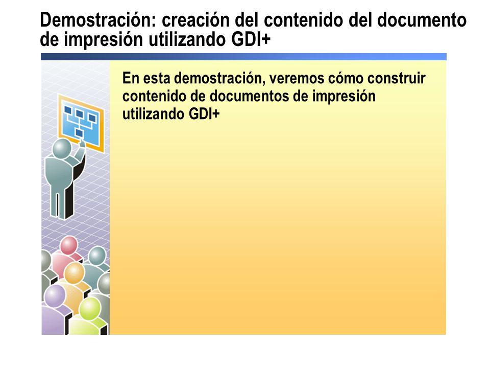 Demostración: creación del contenido del documento de impresión utilizando GDI+