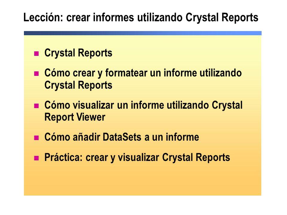 Lección: crear informes utilizando Crystal Reports