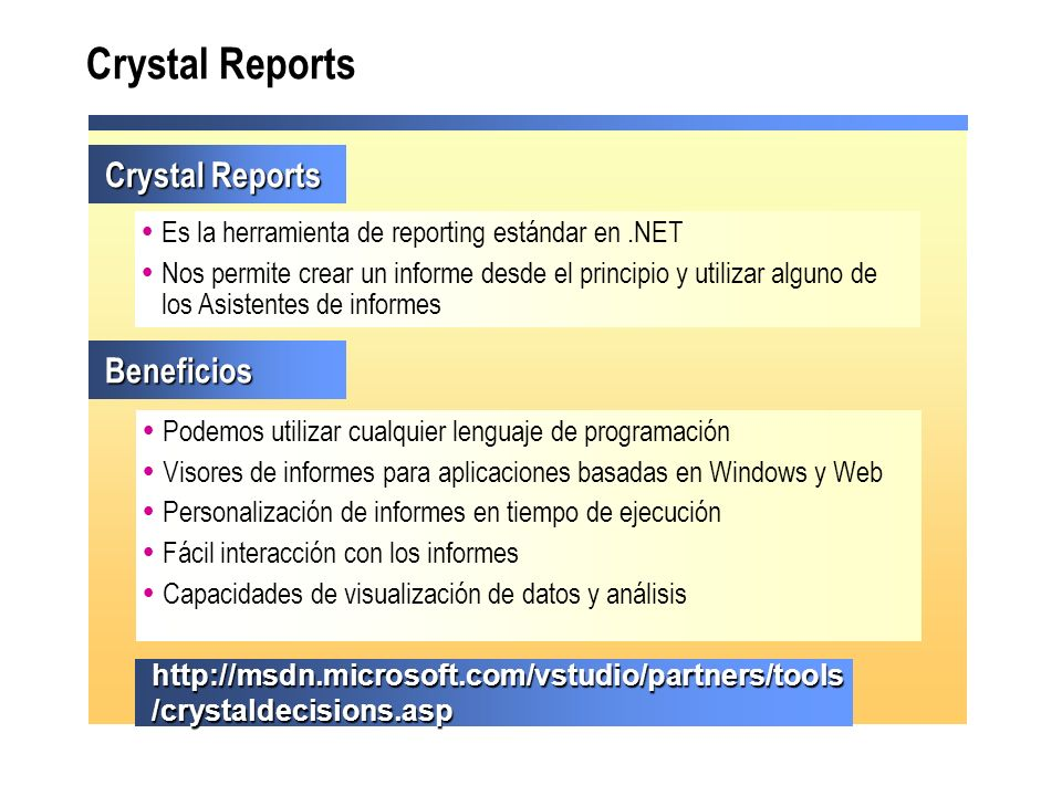 Crystal Reports Crystal Reports Beneficios