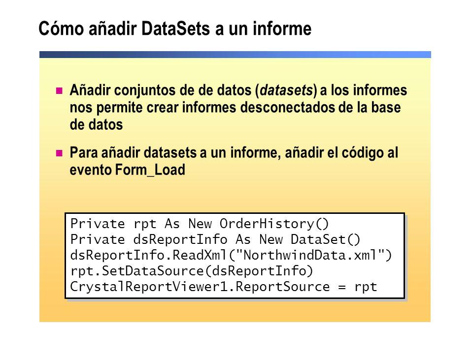 Cómo añadir DataSets a un informe